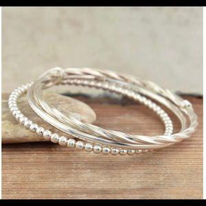 Three bangle sterling silver bracelet